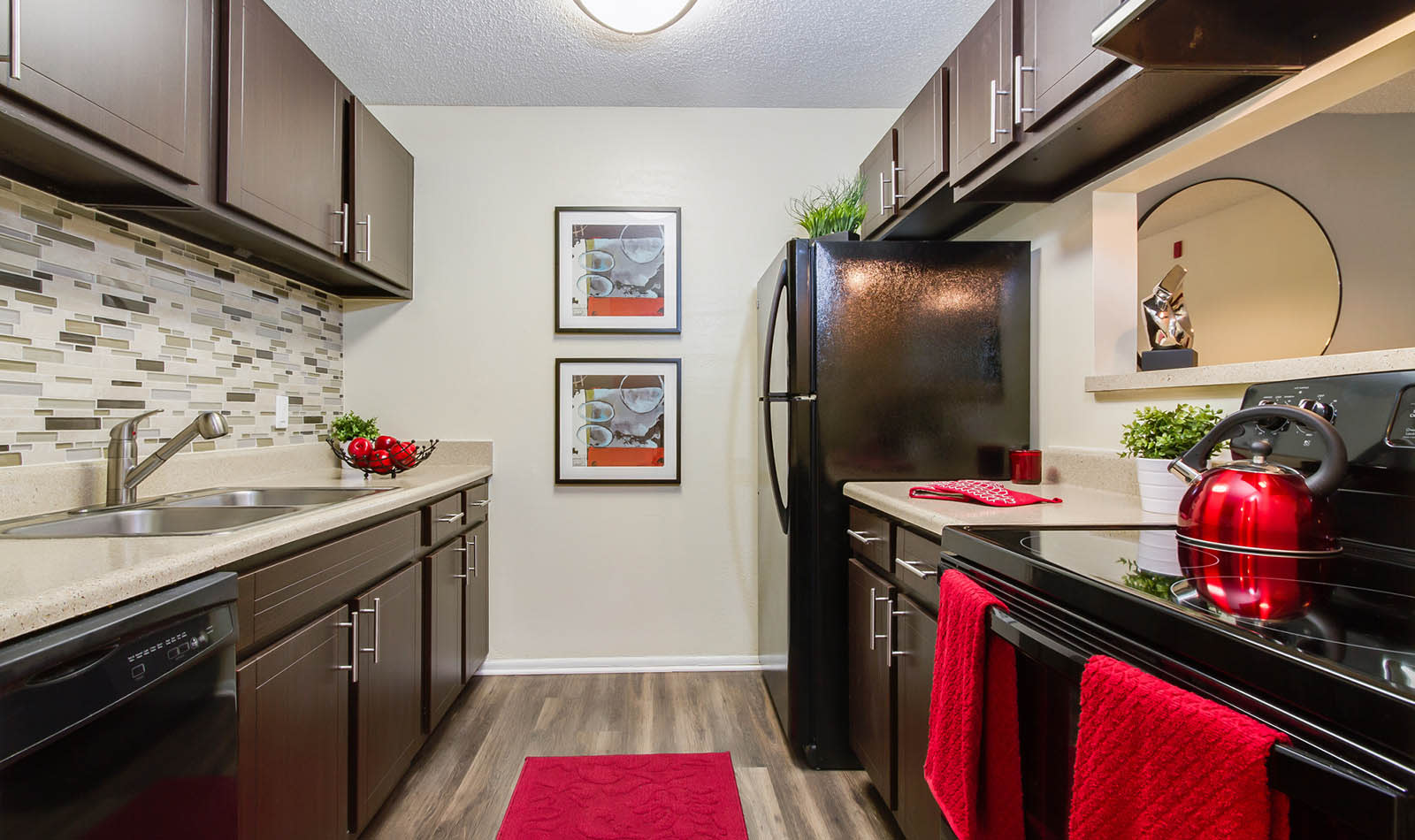 Spacious Modern Kitchen With Black Appliances at The Reserve at Mandarin in Jacksonville, FL