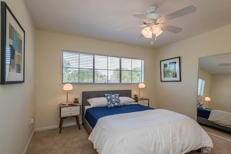 Bedroom at apartments in Fort Worth