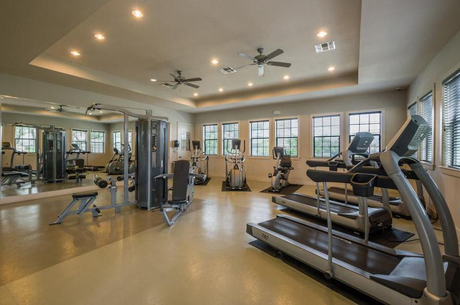 Fitness center at apartments in San Antonio