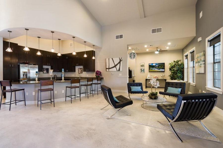 Lounge at apartments in San Antonio