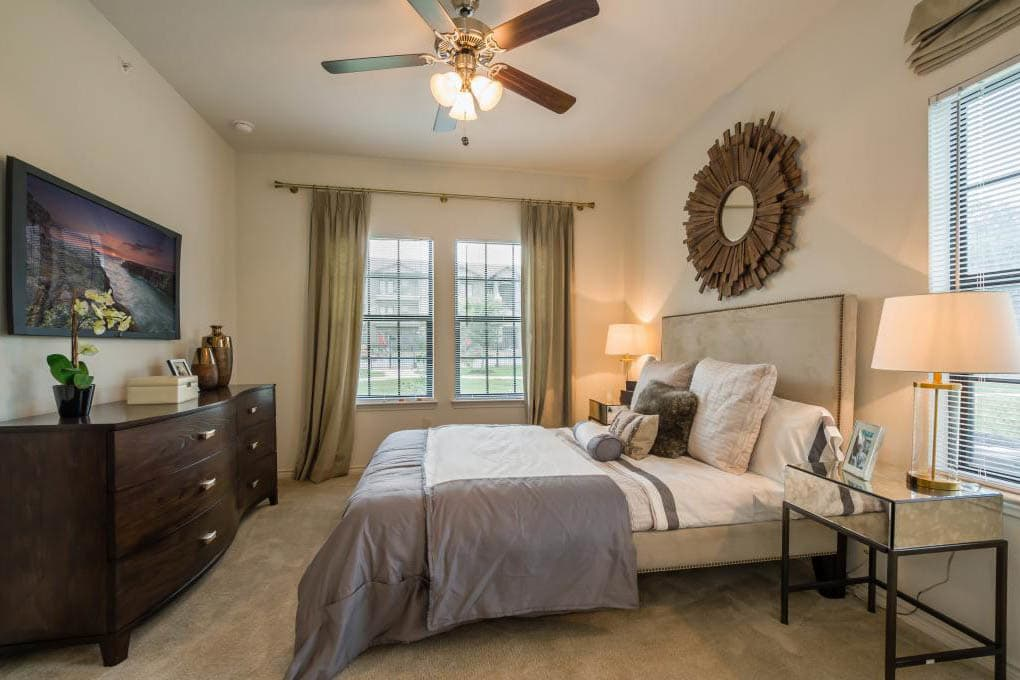 Well decorated bedroom at apartments in TX