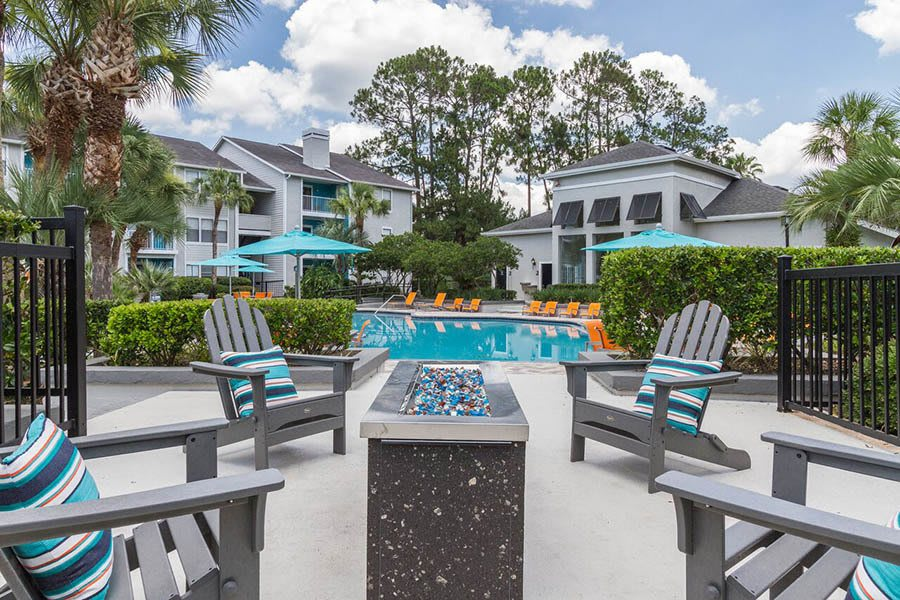 Pool seating at apartments in Orange Park