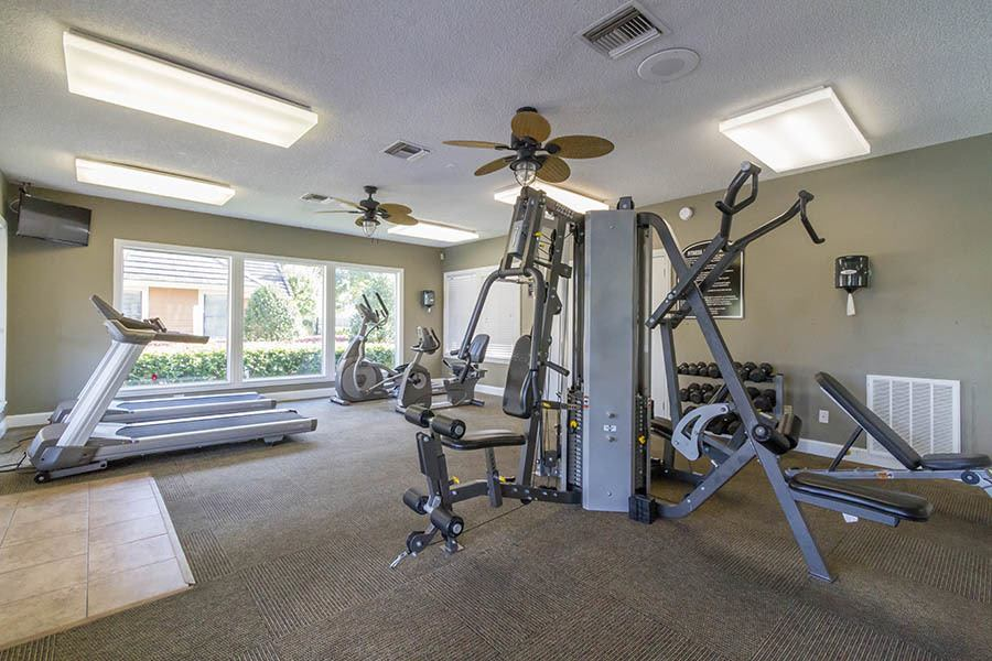 Fitness center at apartments in Orange Park