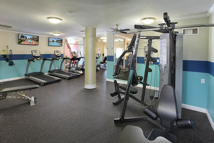 Fitness center at apartments in South Pasadena