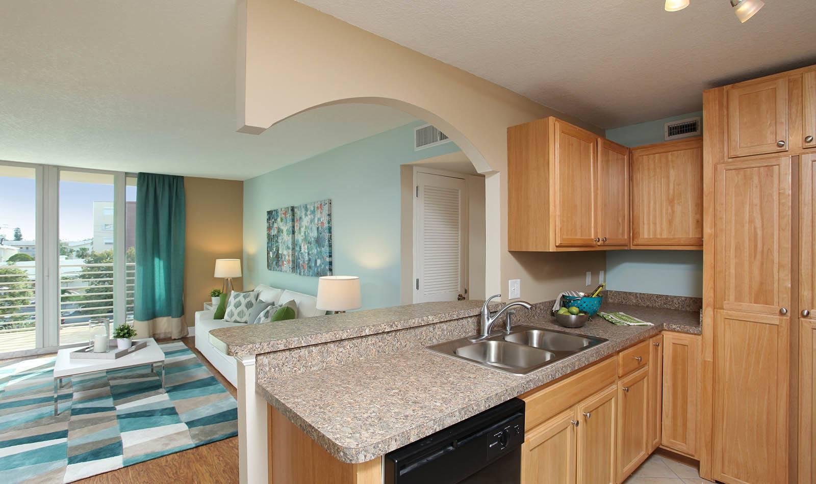 Kitchen at apartments in South Pasadena, FL