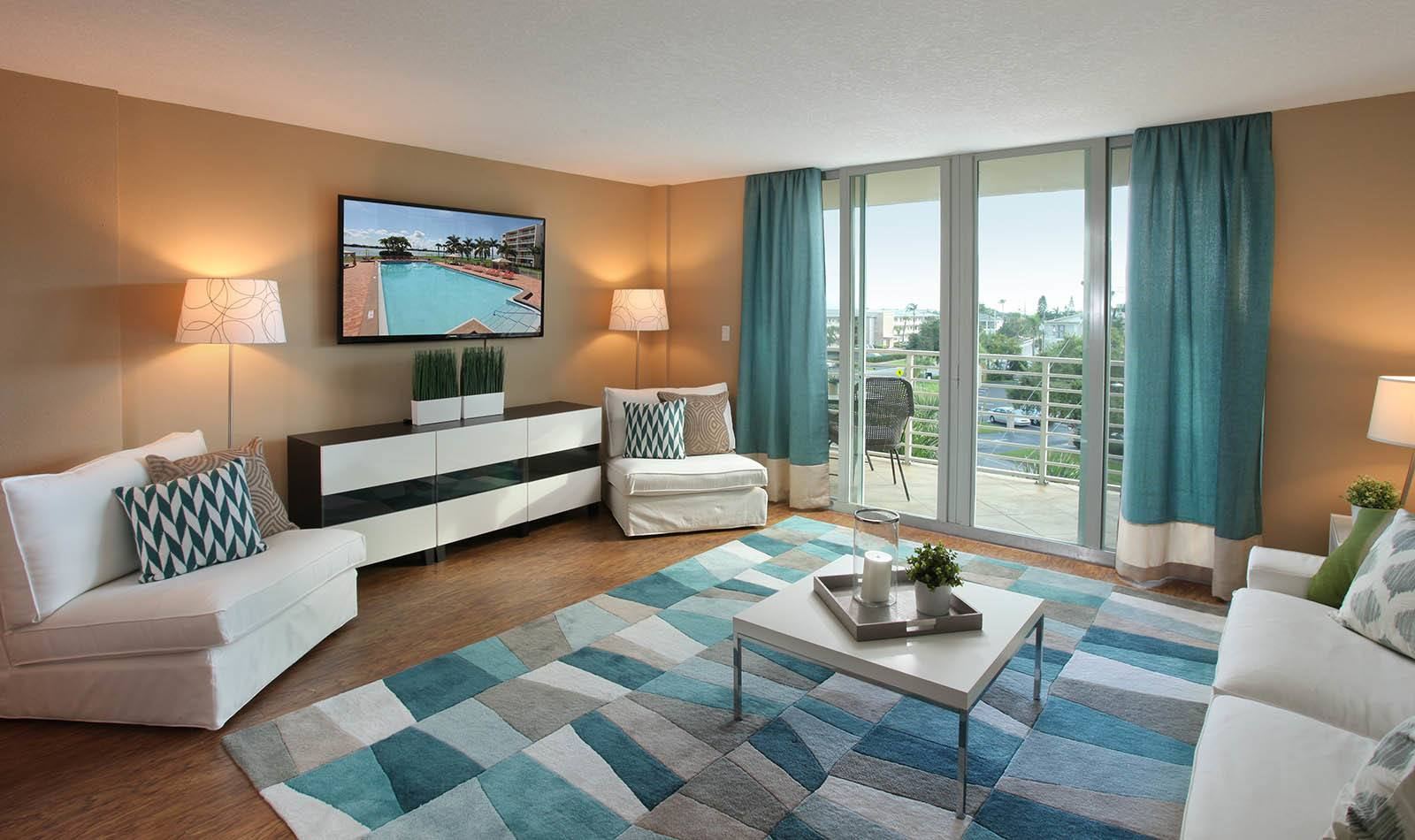 Living room at Waters Pointe Apartments in South Pasadena, FL