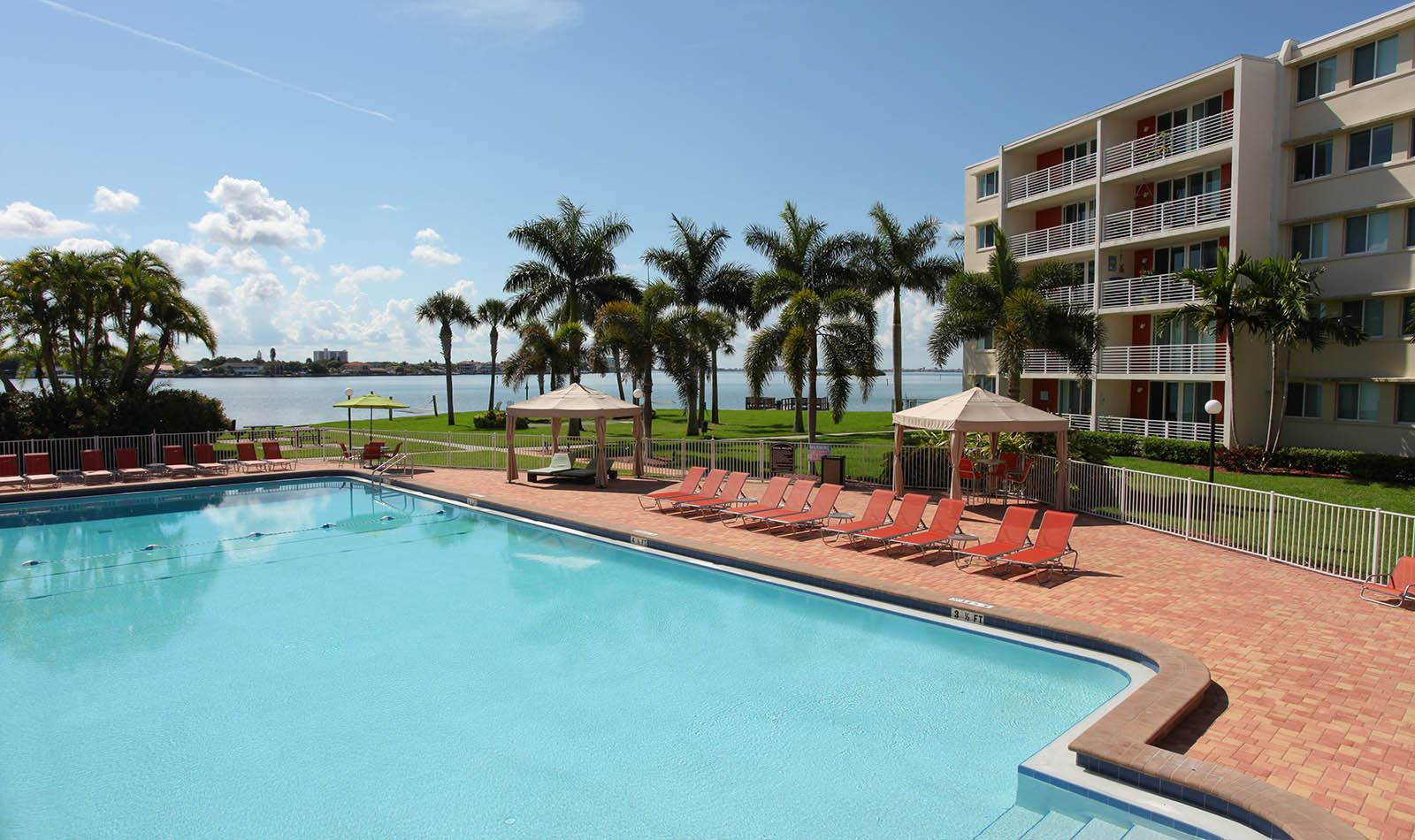 Outdoor pool at Waters Pointe Apartments in South Pasadena, FL