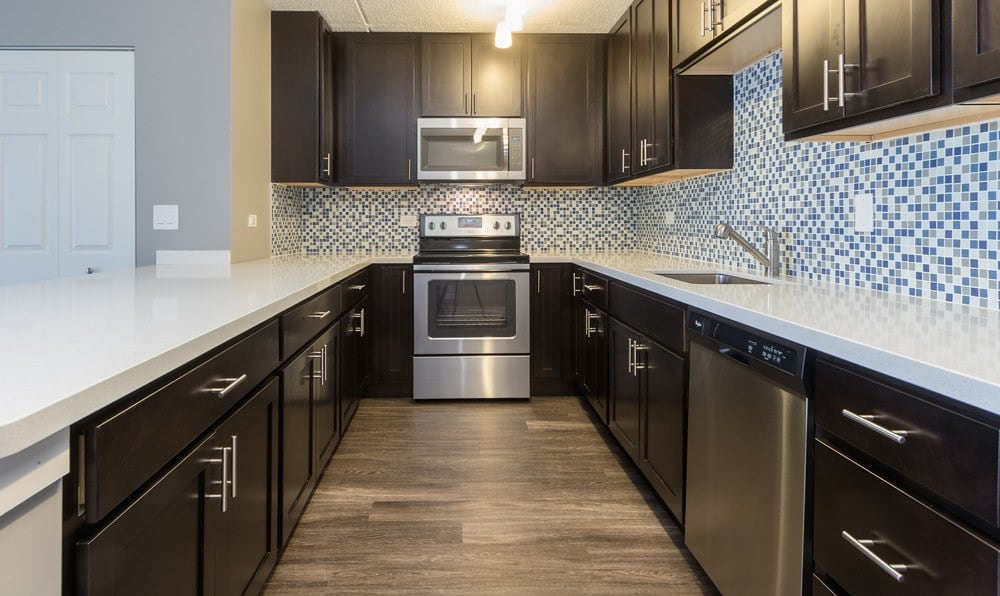 Kitchen with Stainless Steel Appliances at Woodland Ridge Apartments