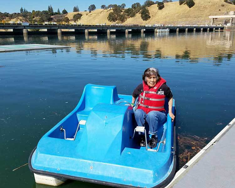 Get into a pedal boat with us at Sun Oak Senior Living