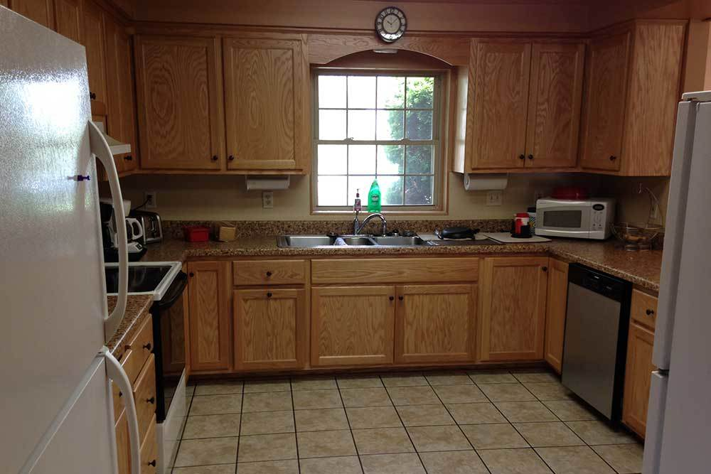 A kitchen layout at Wyndemere Assisted Living.