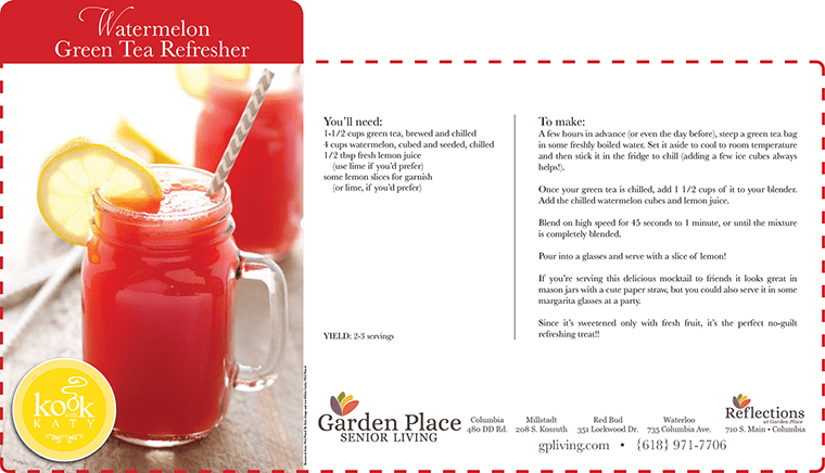 Learn to make a watermelon green tea refresher at Garden Place Senior Living Business Office