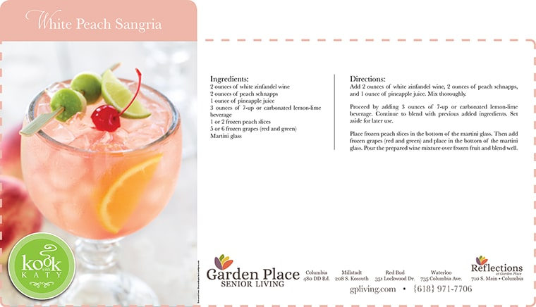 White Peach Sangria at Garden Place Senior Living Business Office