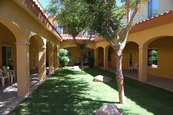 The courtyard at Pennington Gardens