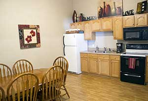 A resident kitchen at Garden Place Millstadt