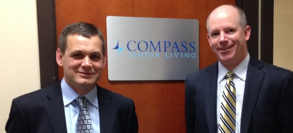 Will and Dennis infront of Compass Senior Living sign