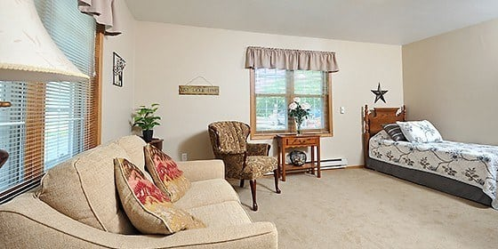 Bedroom at senior living in WI
