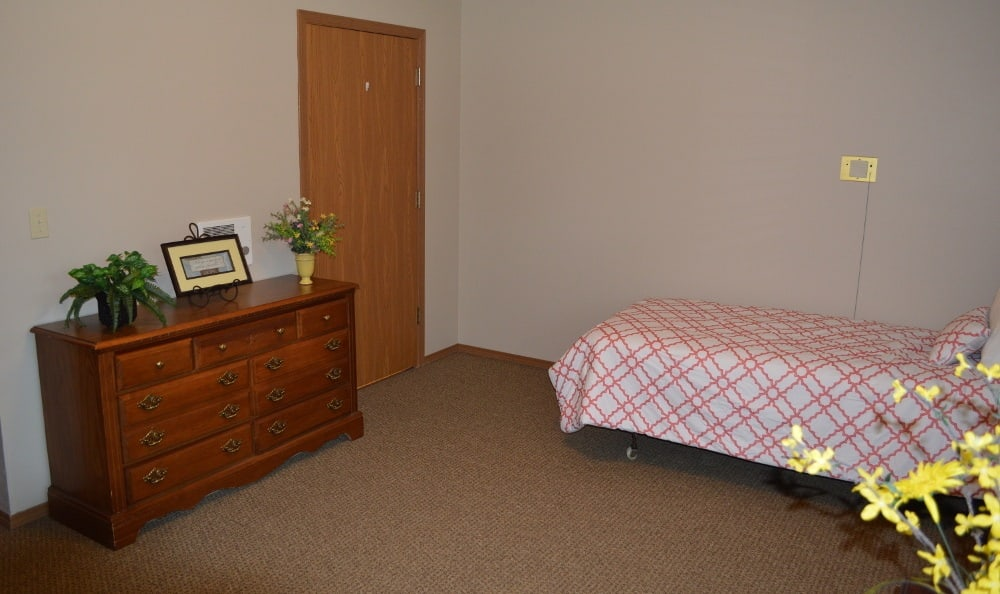 A bedroom for residents at Carrington Assisted Living