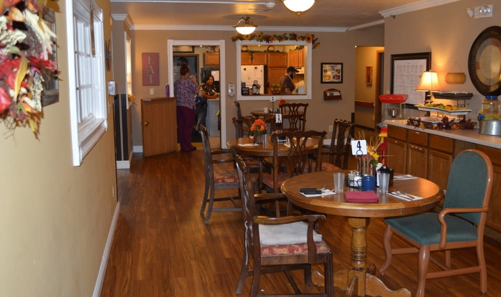 The dining area at Carrington Assisted Living