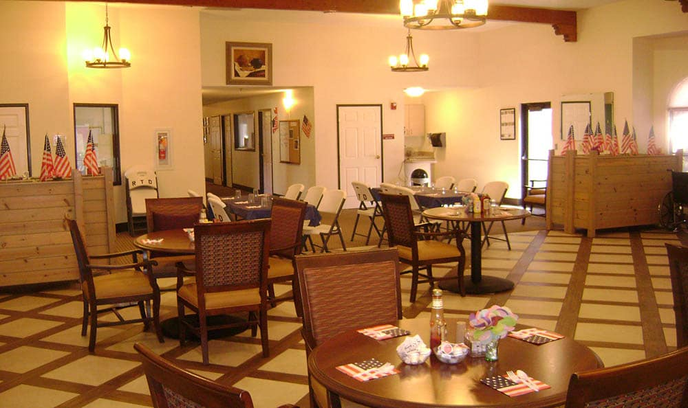 Dining tables at Desert Peaks Assisted Living and Memory Care in NM