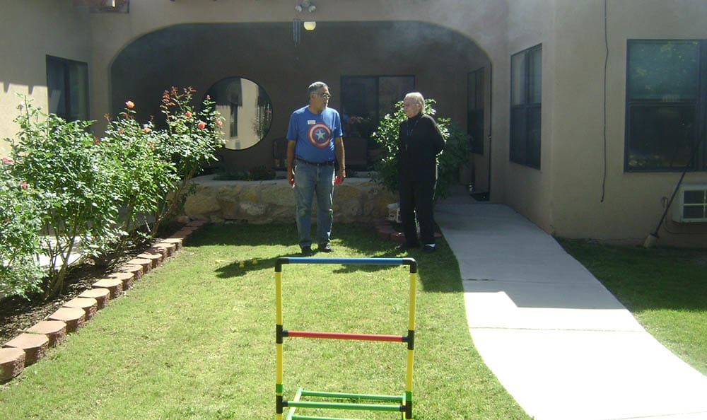 Outdoor games at Desert Peaks Assisted Living and Memory Care in NM
