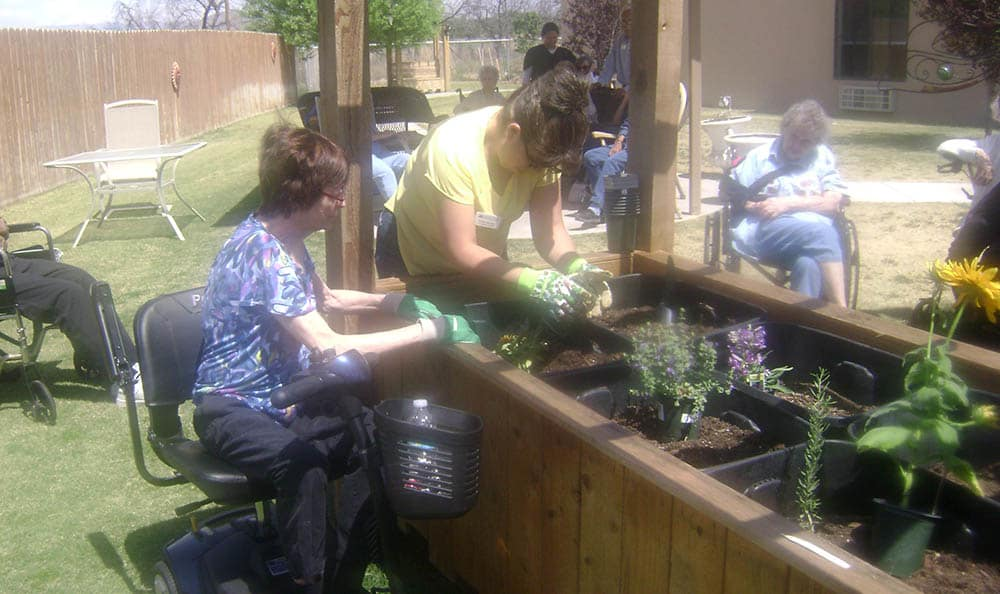 Gardening at Desert Peaks Assisted Living and Memory Care in NM