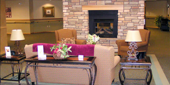 Fireplace at senior living in Payson
