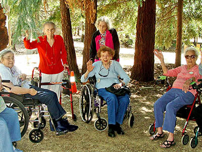 Elders at the park at senior living in Redding