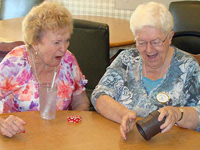 Two elder women at senior living in Redding