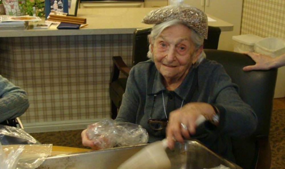 Resident preparing food at senior living in Redding, CA