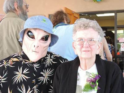Resident and alien at senior living in Roswell