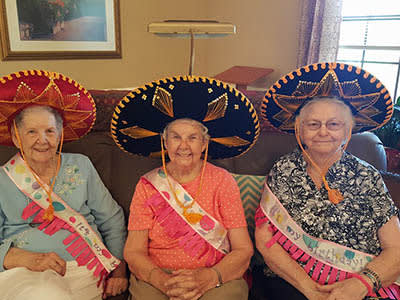 Three amigos party at senior living in Roswell
