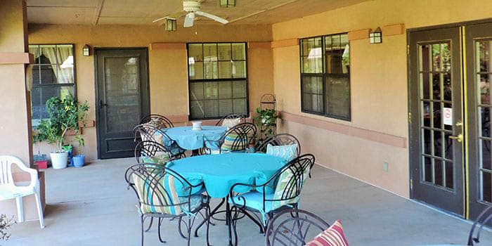 Patio at Peachtree Village Retirement Community
