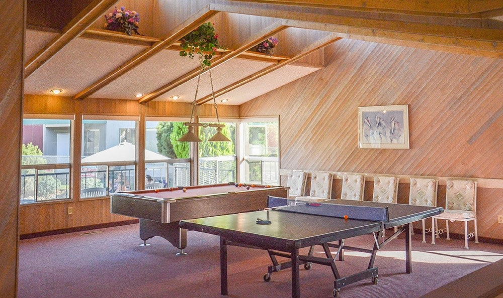 The clubhouse at Northpoint has a billiards table, ping pong table, and more.