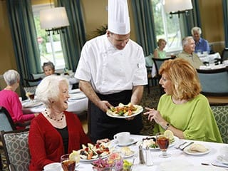 The Summit's chef with residents in Hockessin