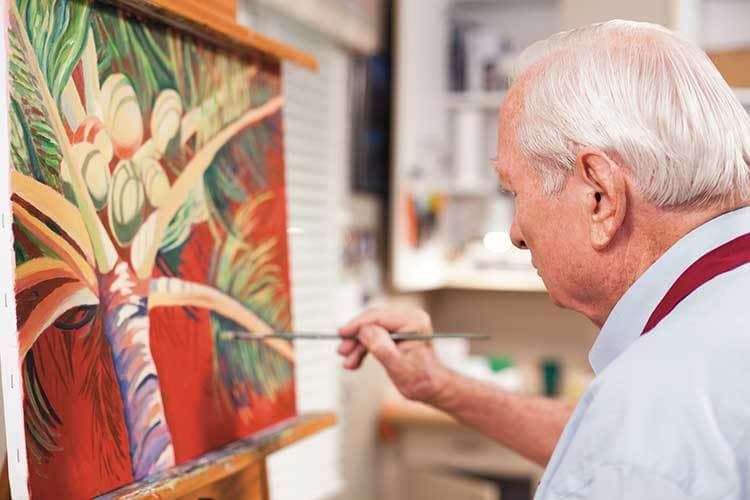 Senior living residents in Maryland enjoy some hobby time.