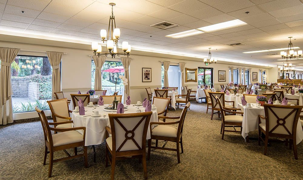Large community dining room at Pasadena Highlands in Pasadena, California