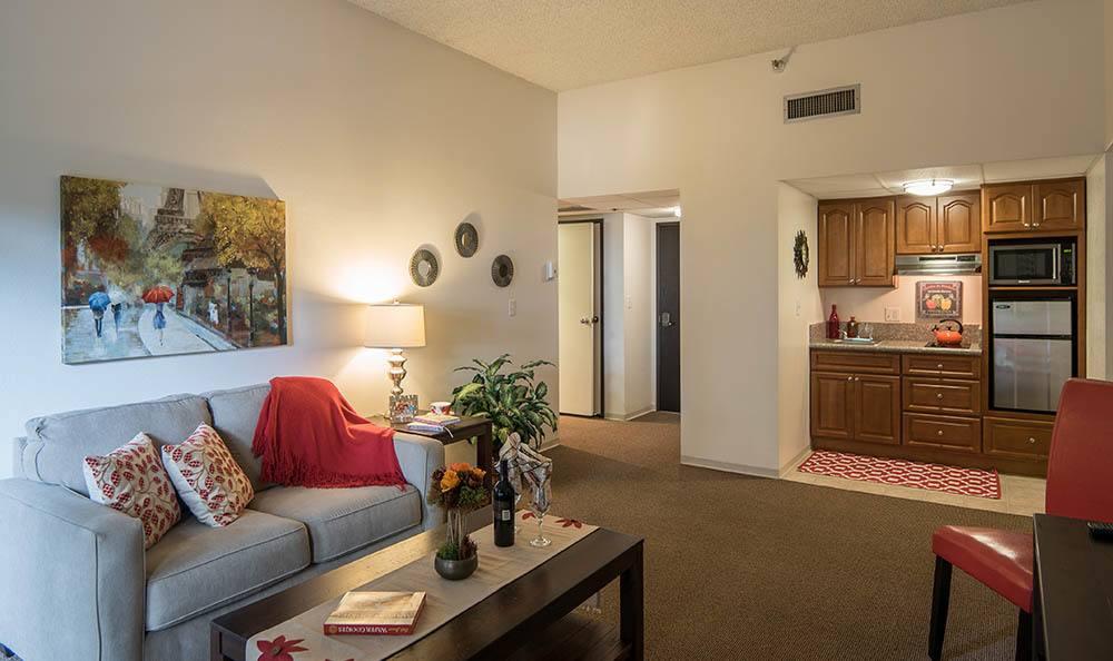 Living room and kitchen at Pasadena Highlands