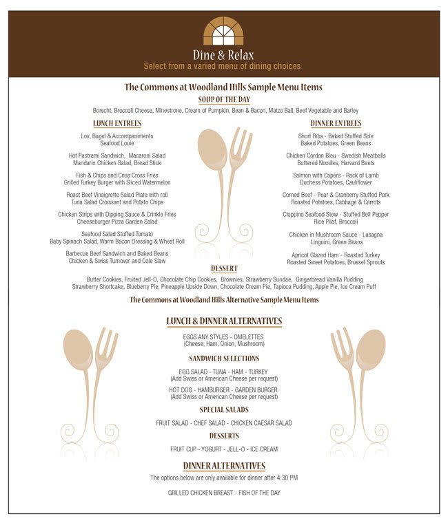 Sample menu at The Commons at Woodland Hills