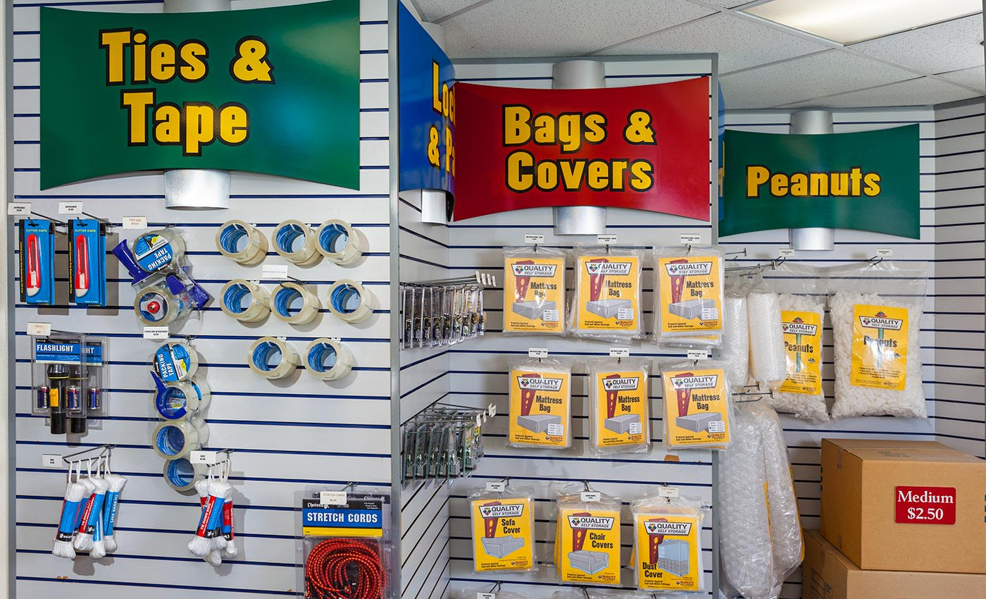 We offer packing and moving supplies - and more - in the office here at AAA Quality Self Storage.