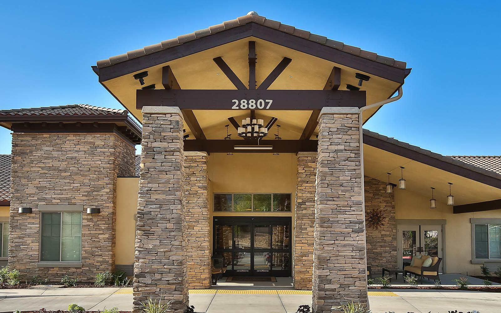 Covered Front Entrance at Brightwater Senior Living of Highland in Highland, CA