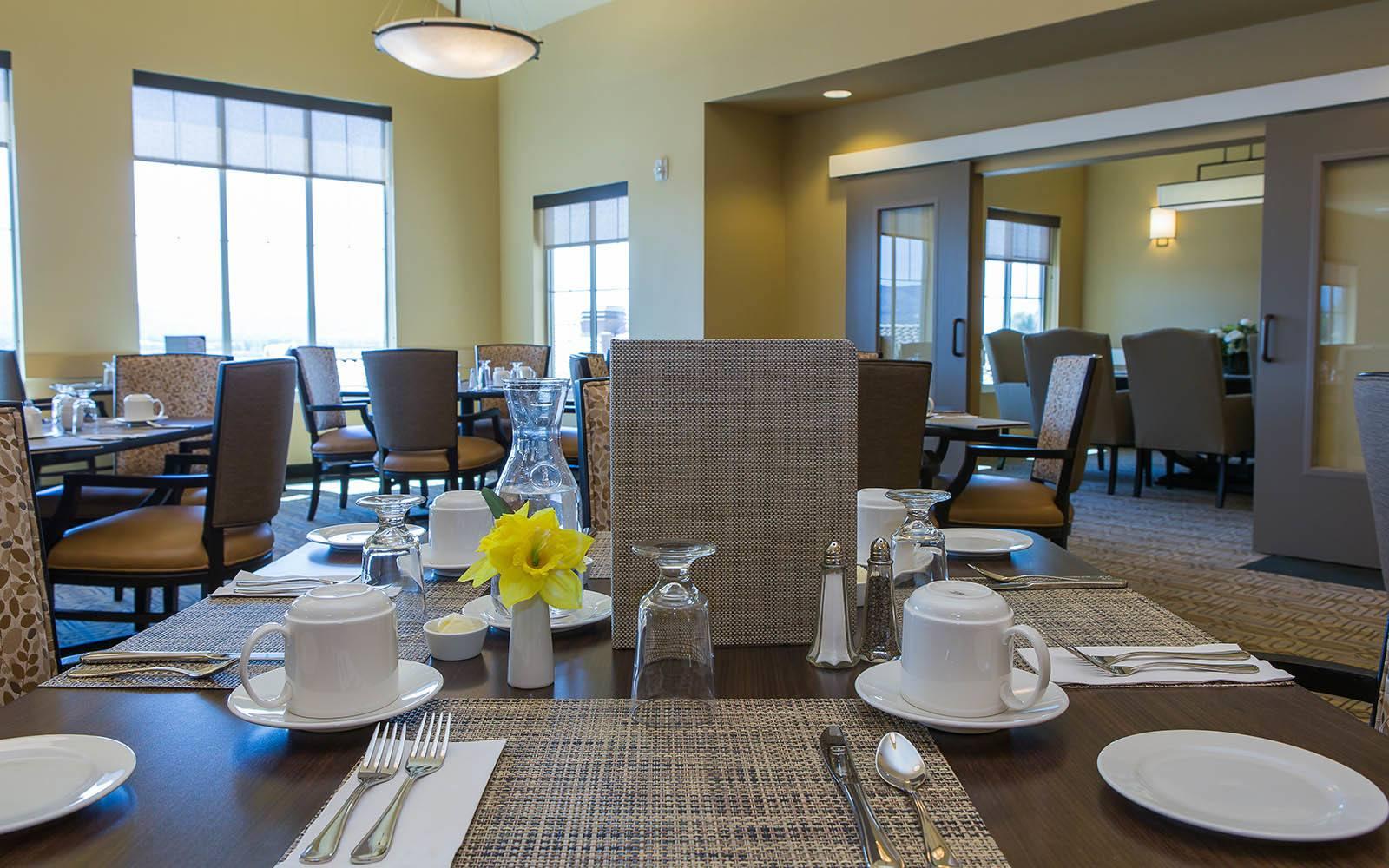 Dining Room at Brightwater Senior Living of Highland in Highland, CA