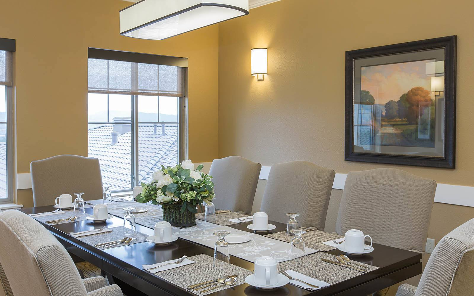 Dining Table With Place Settings at Brightwater Senior Living of Highland in Highland, CA