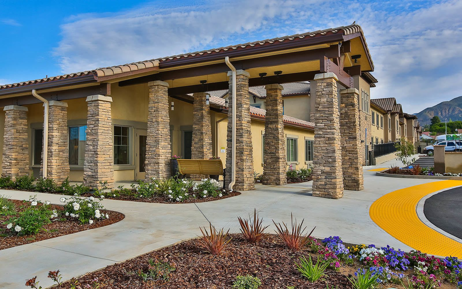 Memory Care Facility Front Entrance at Brightwater Senior Living of Highland in Highland, CA