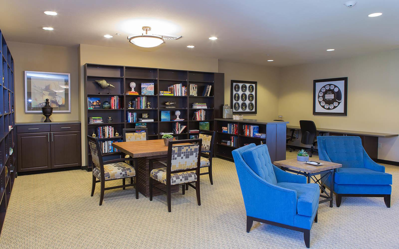 Reading Room at Brightwater Senior Living of Highland in Highland, CA
