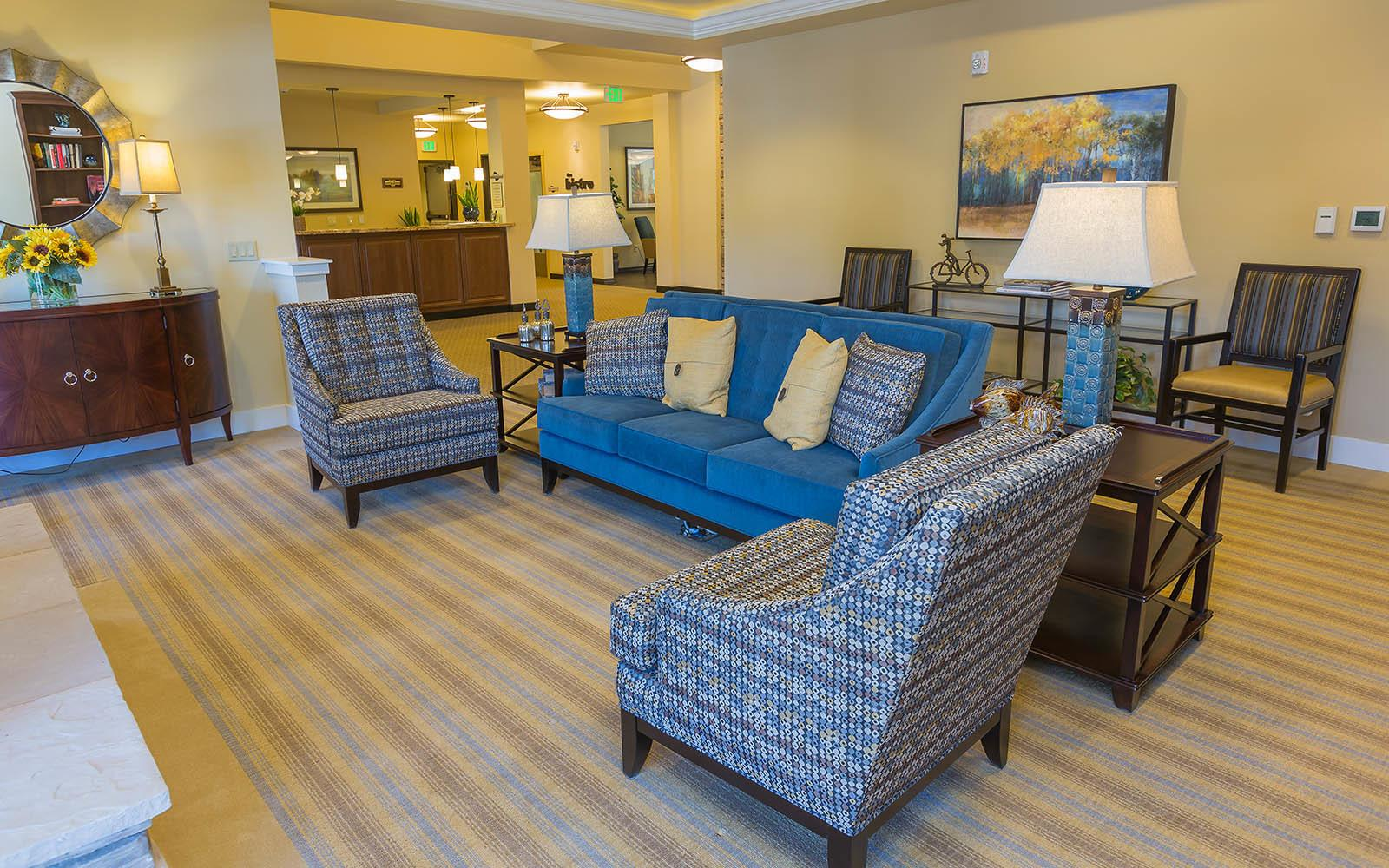 Seating In The Lobby at Brightwater Senior Living of Highland in Highland, CA