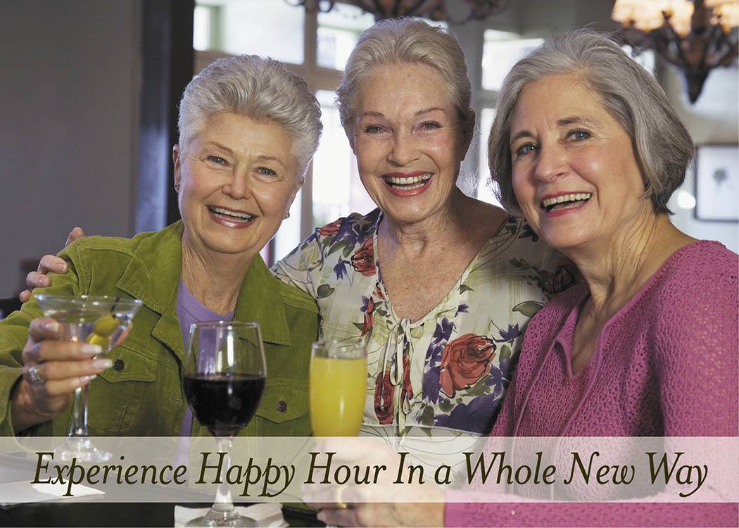 Brightwater Senior Living of Tuxedo friends enjoying happy hour