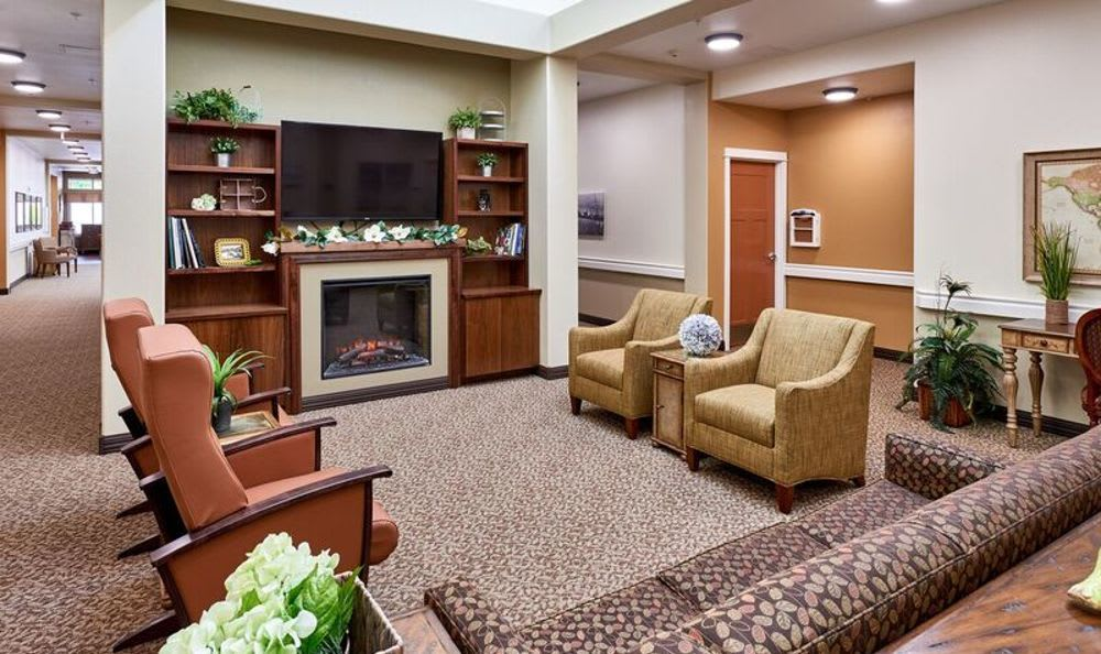 Tv room at Sunnyside Meadows Memory Care
