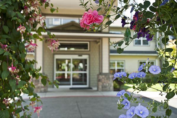 Hanging Flower Baskets at Middlefield Oaks Assisted Living and Memory Care