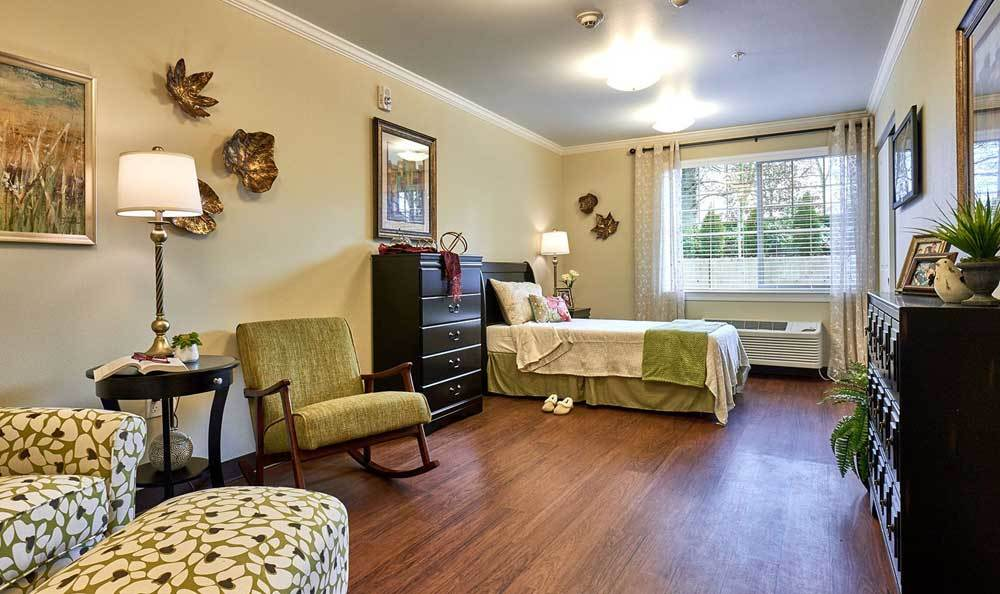 Bedroom at The Rawlin at Riverbend Memory Care