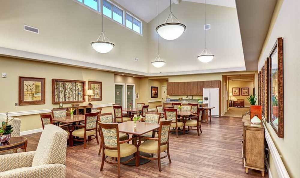 Dinning area at Waterhouse Ridge Memory Care in Beaverton, OR